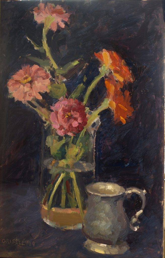 Zinnias and Pewter, Oil on Panel, 18 x 12 Inches, by Susan Grisell, $300
