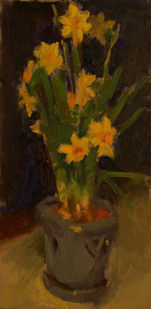 Mini Daffodils, Oil on Canvas on Panel, 12 x 6 Inches, by Susan Grisell, $250