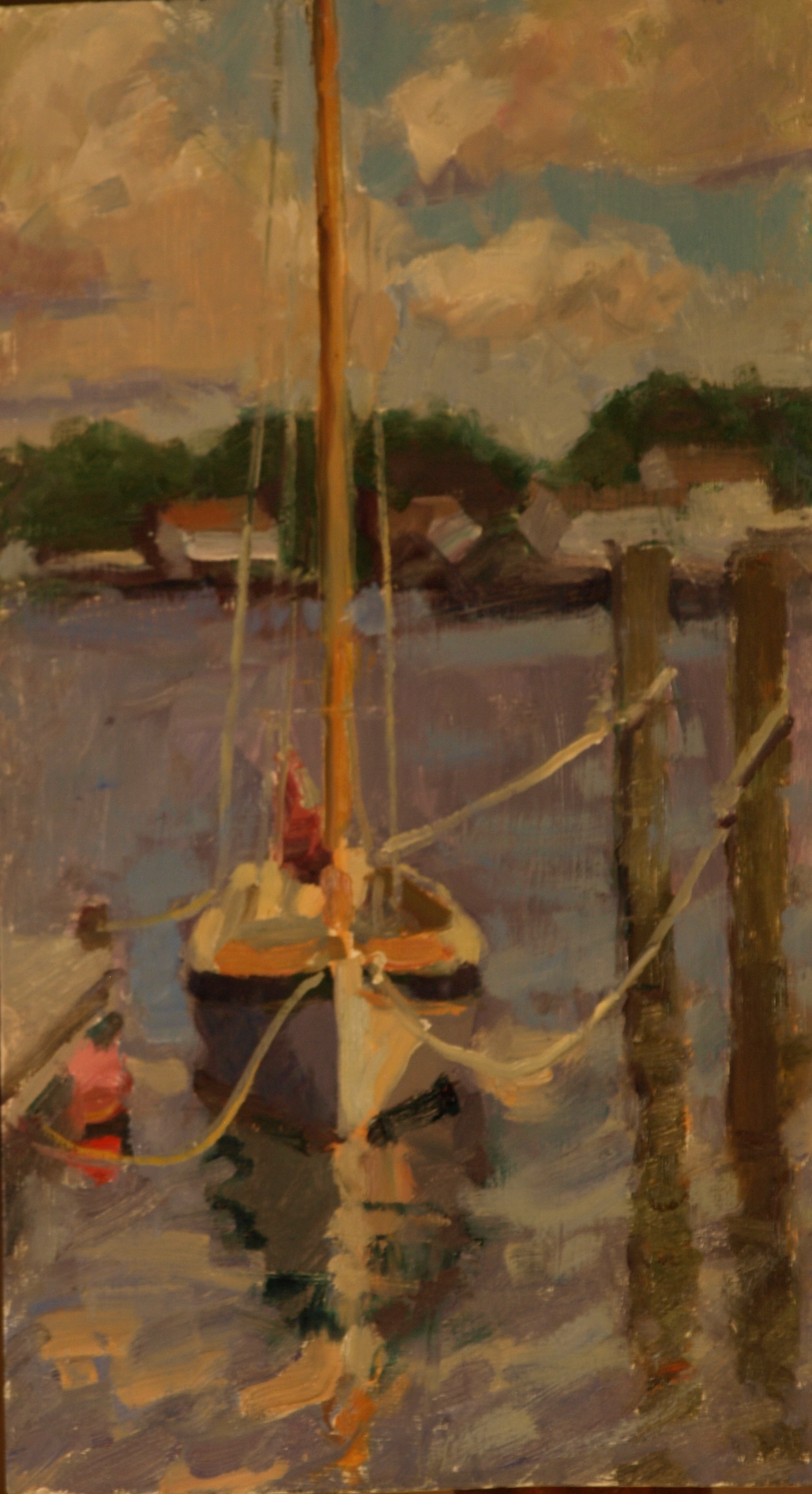 Moored Sailboat, Oil on Panel, 16 x 9 Inches, by Susan Grisell, $300