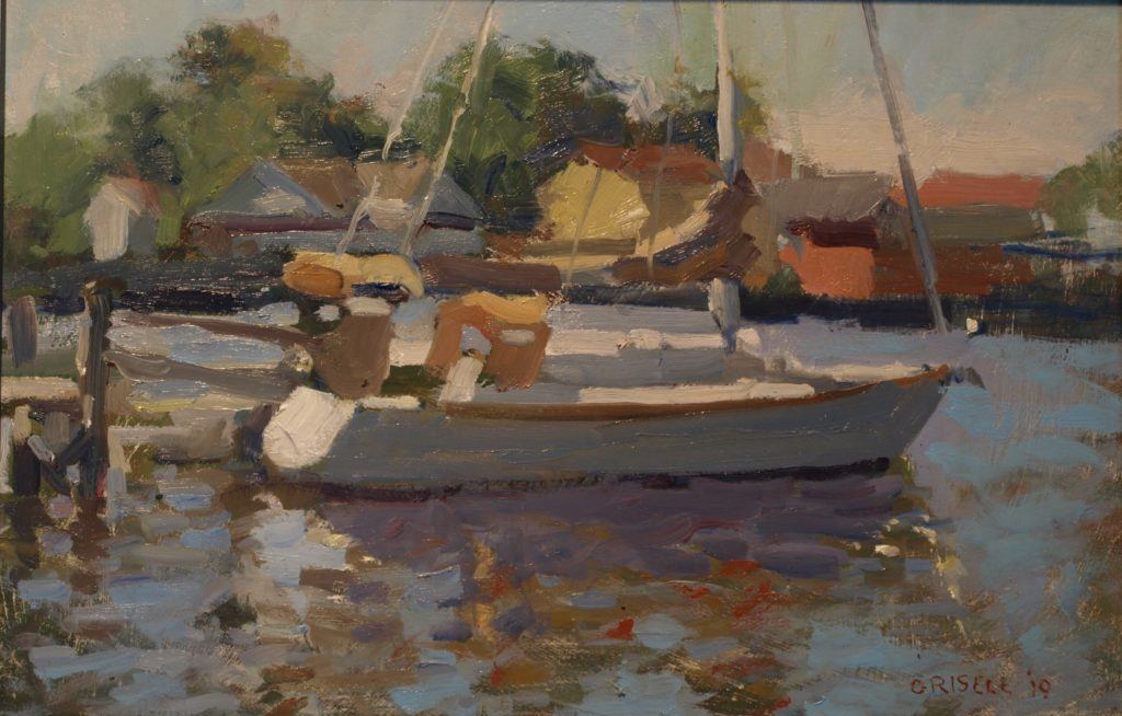 Moored Sailboat, Oil on Panel, 12 x 16 Inches, by Susan Grisell, $300
