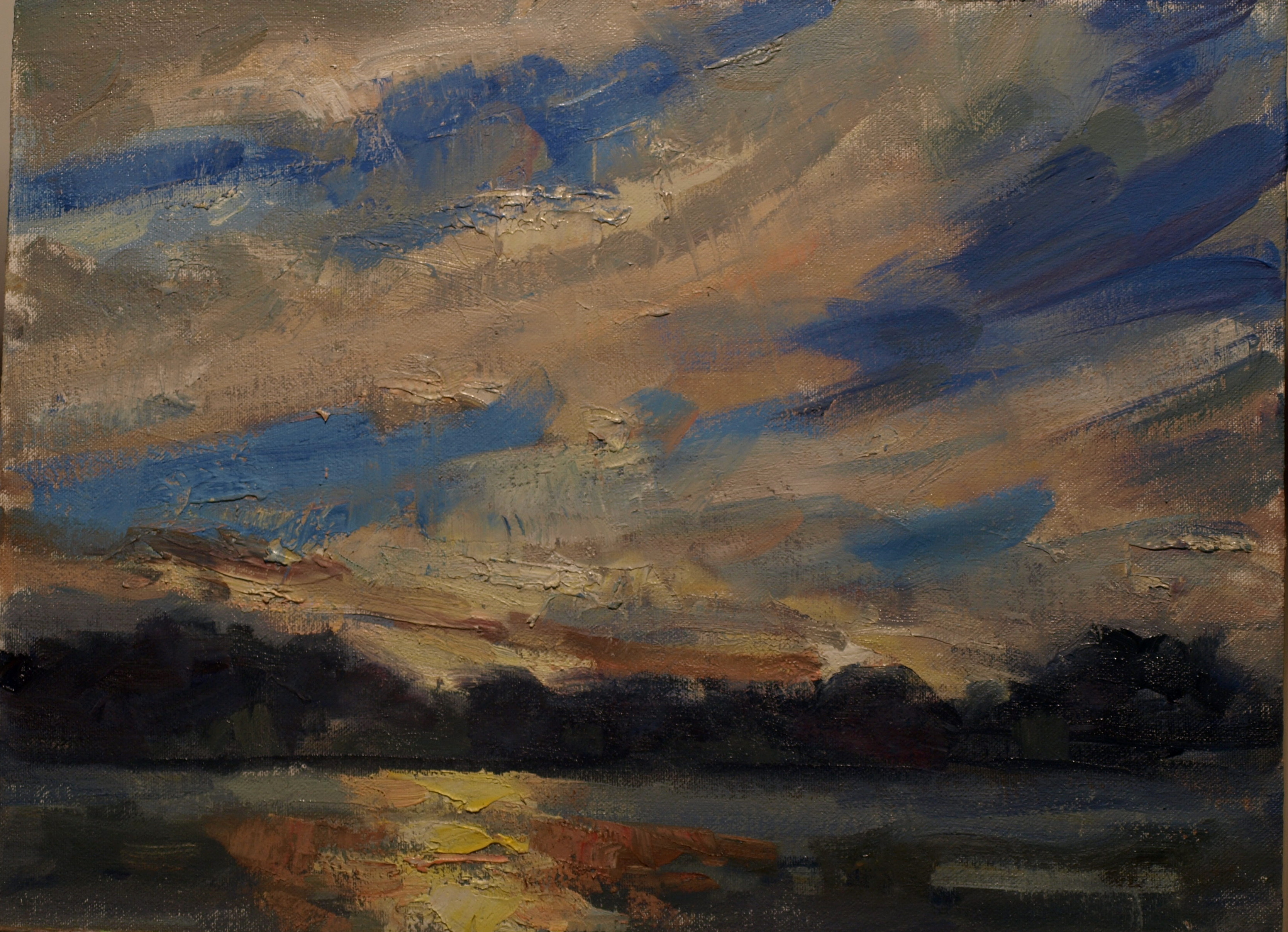 Mystic River Sunset, Oil on Canvas on Panel, 12 x 16 Inches, by Susan Grisell, $300