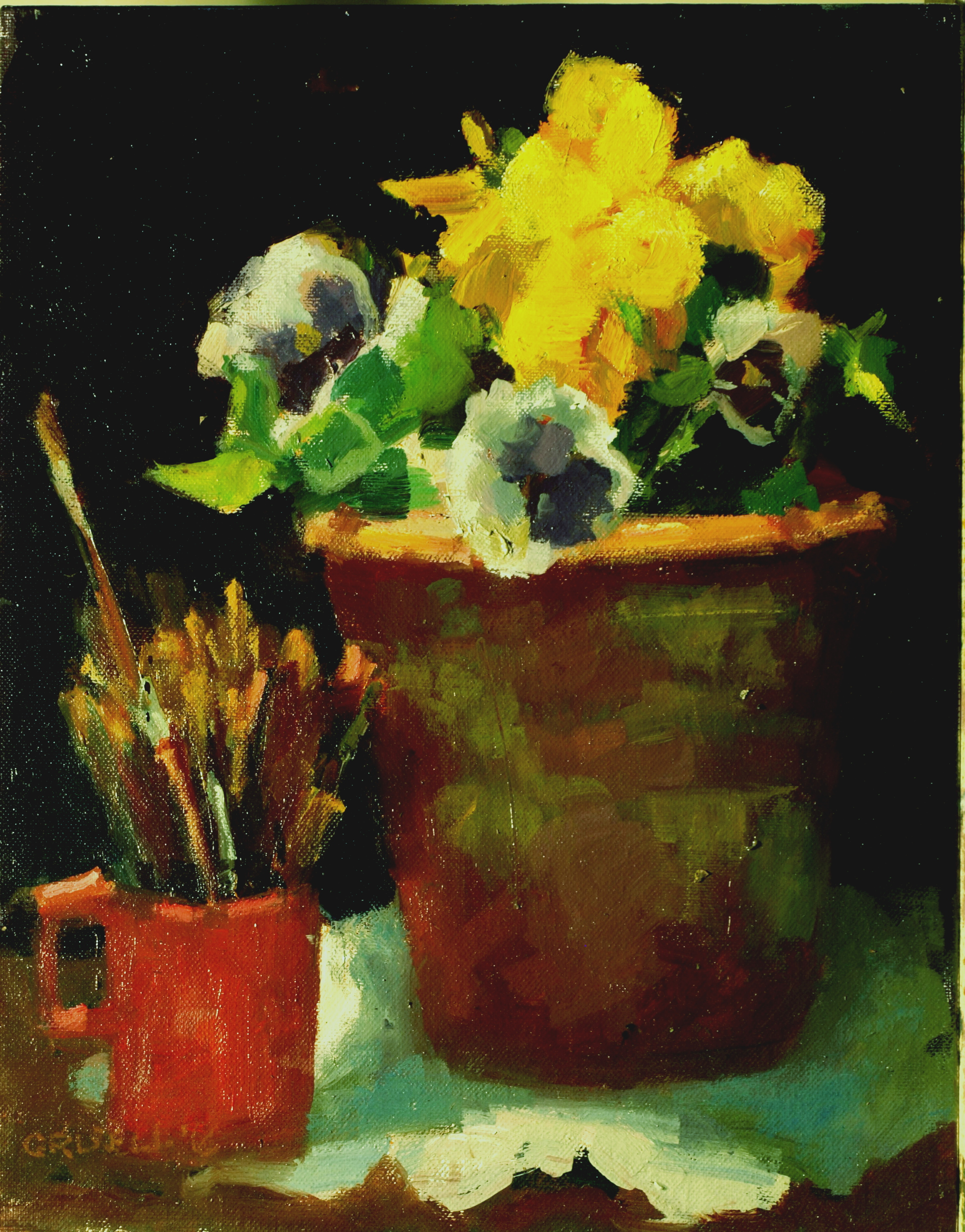 Pansies and Paintbrushes, Oil on Canvas on Panel, 11 x 14 Inches, by Susan Grisell, $275