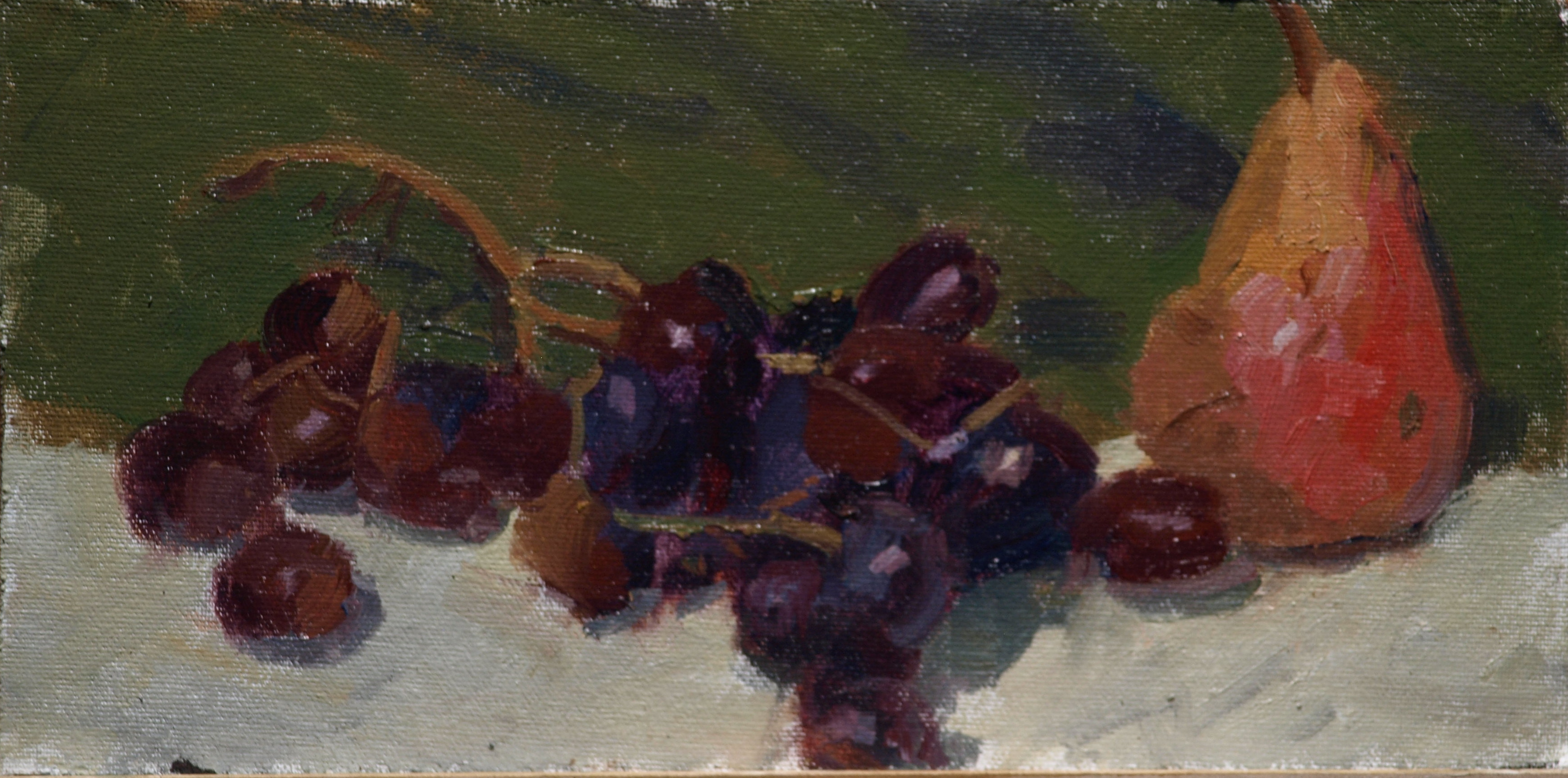 Pear and Grapes, Oil on Canvas on Panel, 8 x 12 Inches, by Susan Grisell, $150