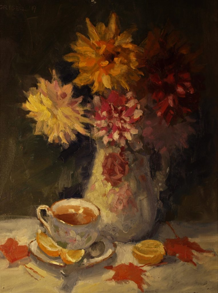 Tea and Dahlias, Oil on Canvas on Panel, 20 x 16 Inches, by Susan Grisell, $600