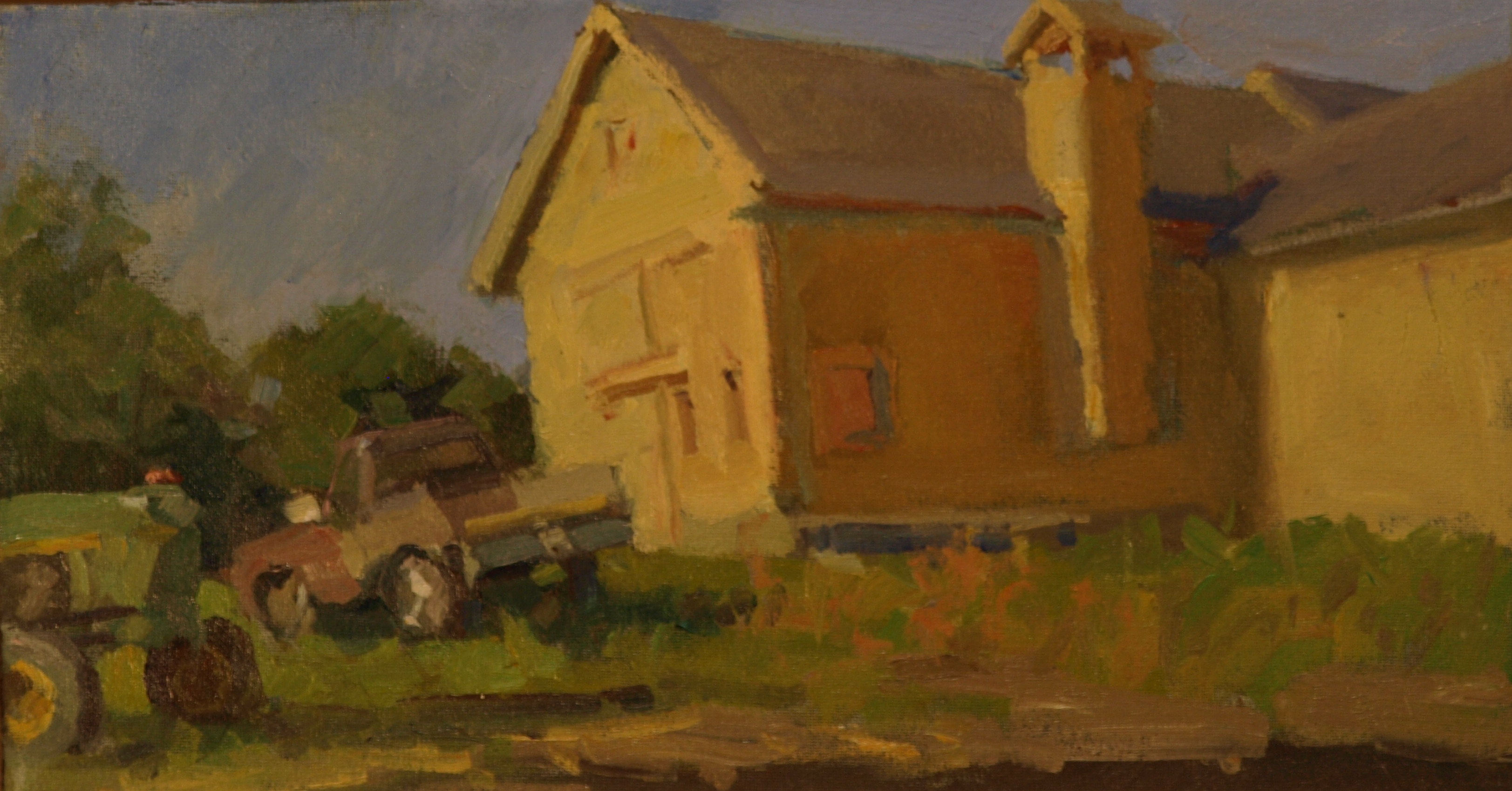 Barn Truck and Tractor, Oil on Canvas on Panel, 9 x 16 Inches, by Susan Grisell, $300