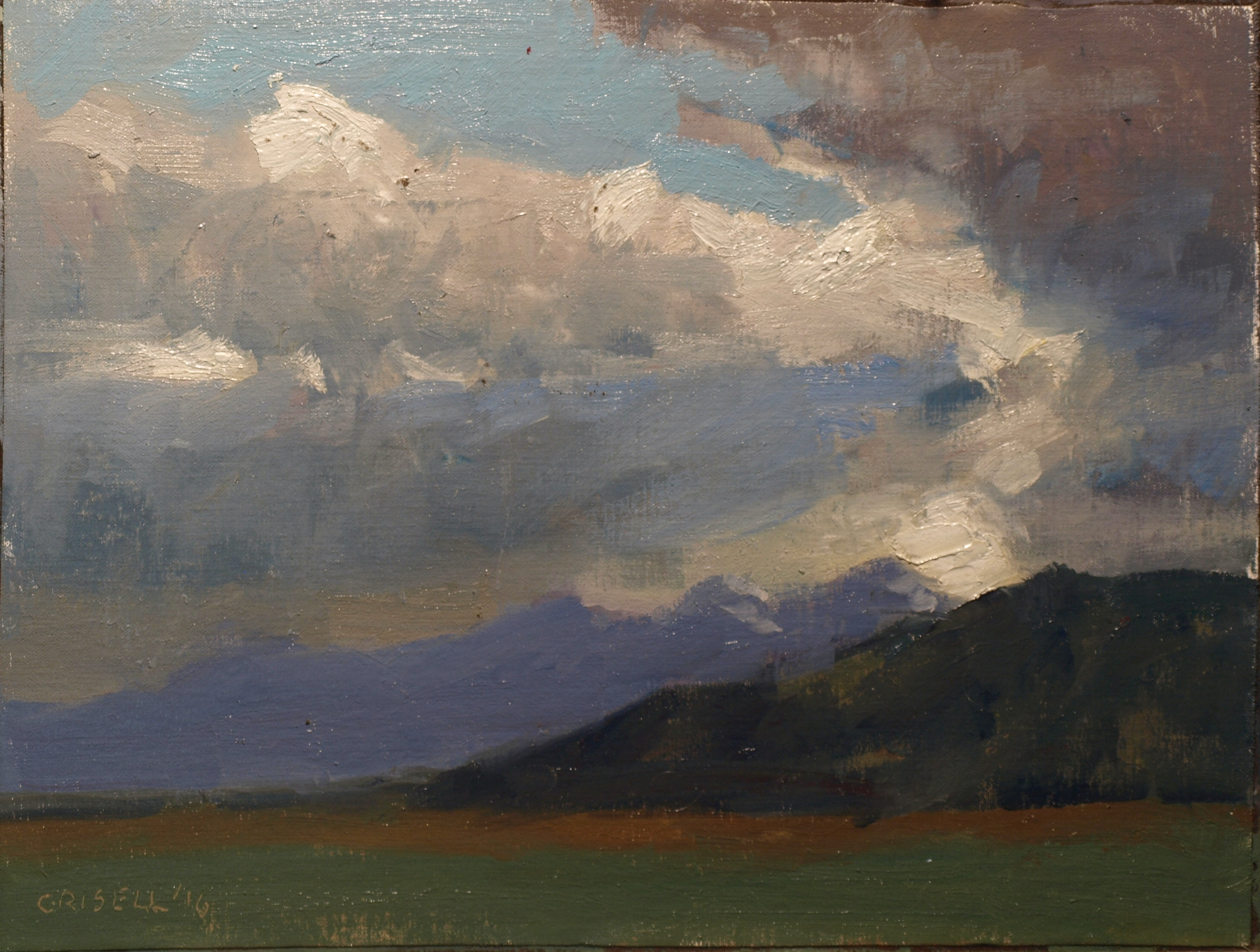 Sky Study, Oil on Canvas on Panel, 12 x 16 Inches, by Susan Grisell, $300