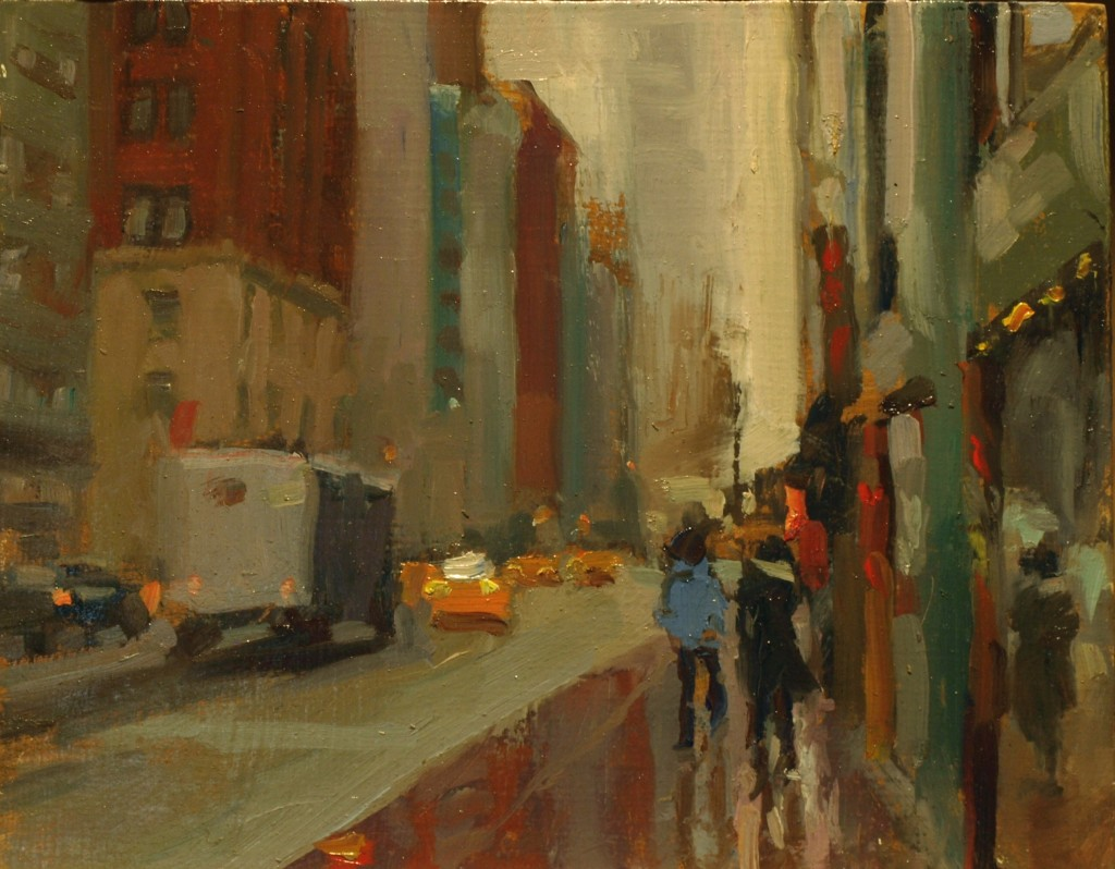 Madison Avenue Mist, Oil on Panel, 8 x 10 Inches, by Susan Grisell, $220