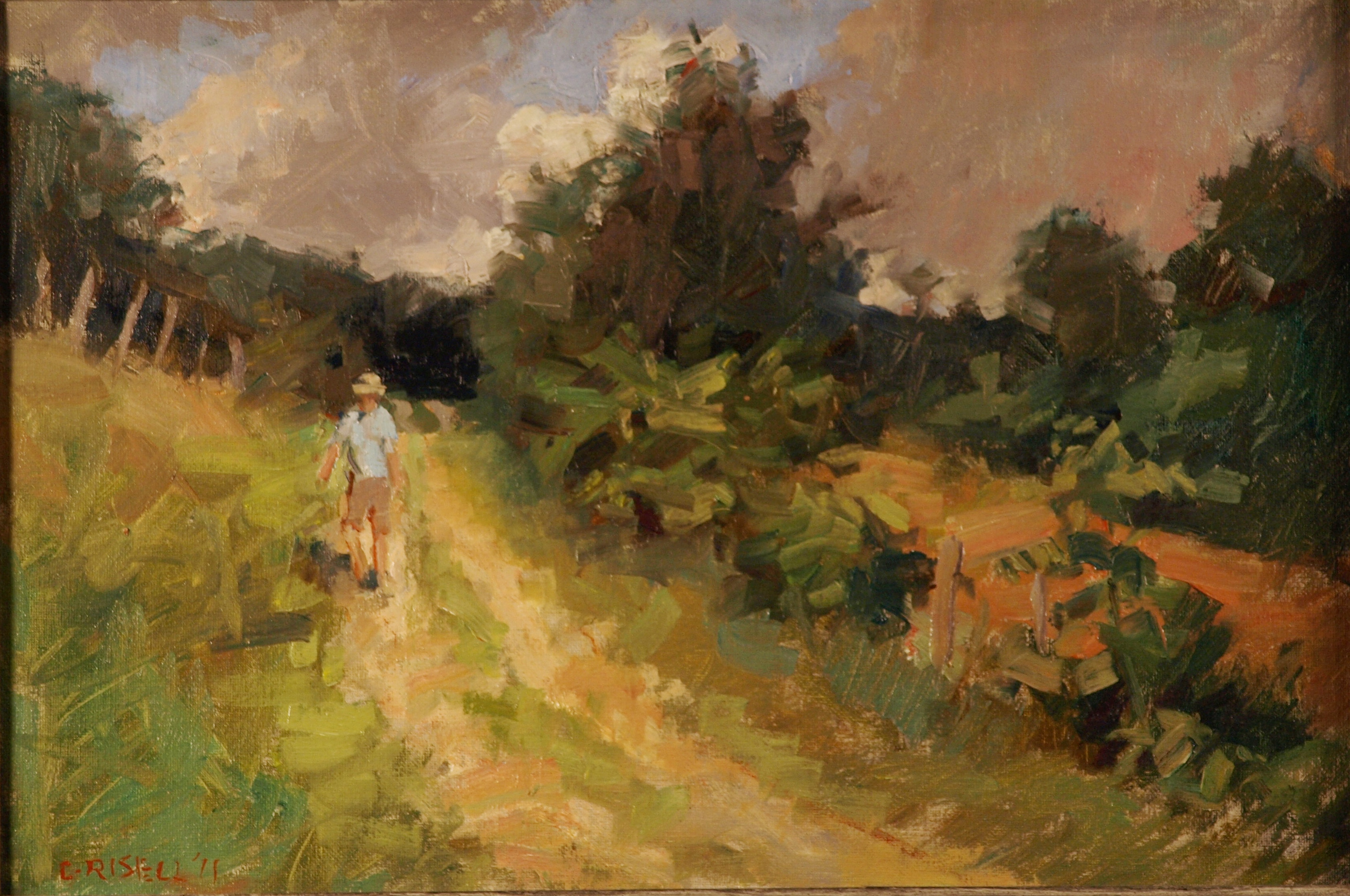 Path in Summer, Oil on Canvas on Panel, 12 x 18 Inches, by Susan Grisell, $275