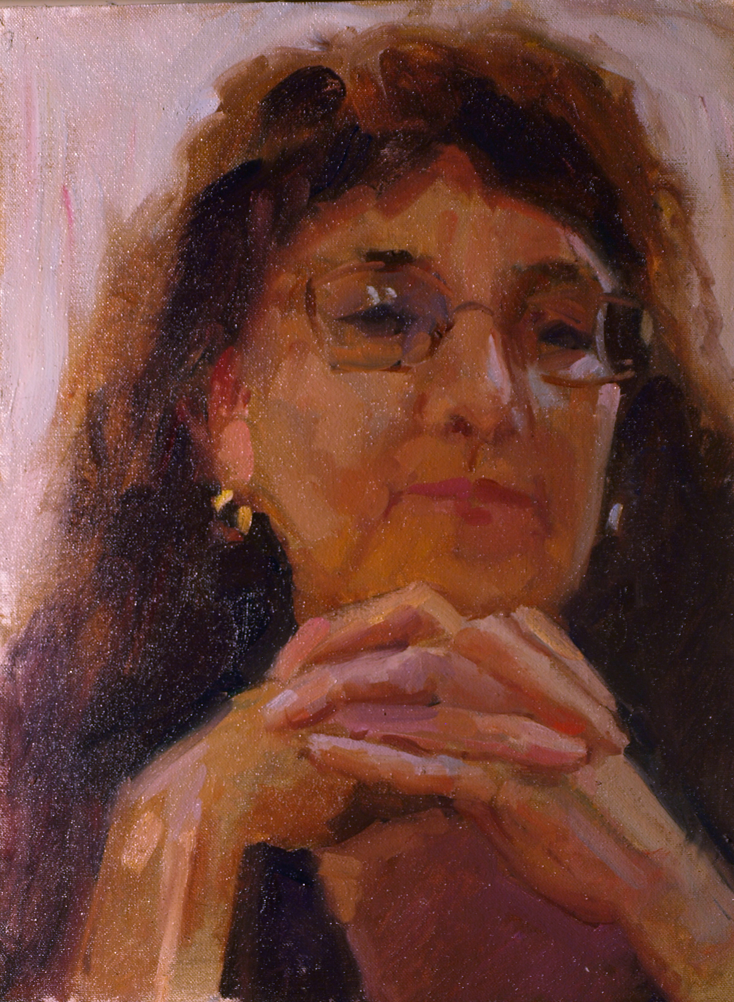 Study - Head and Hands, Oil on Canvas on Panel, 16 x 12 Inches, by Susan Grisell, $300