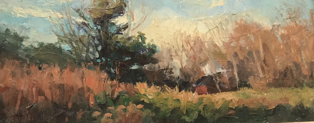 """""""Across the Field"""", Oil on Panel, 8 x 18 Inches, by Susan Grisell $275"""