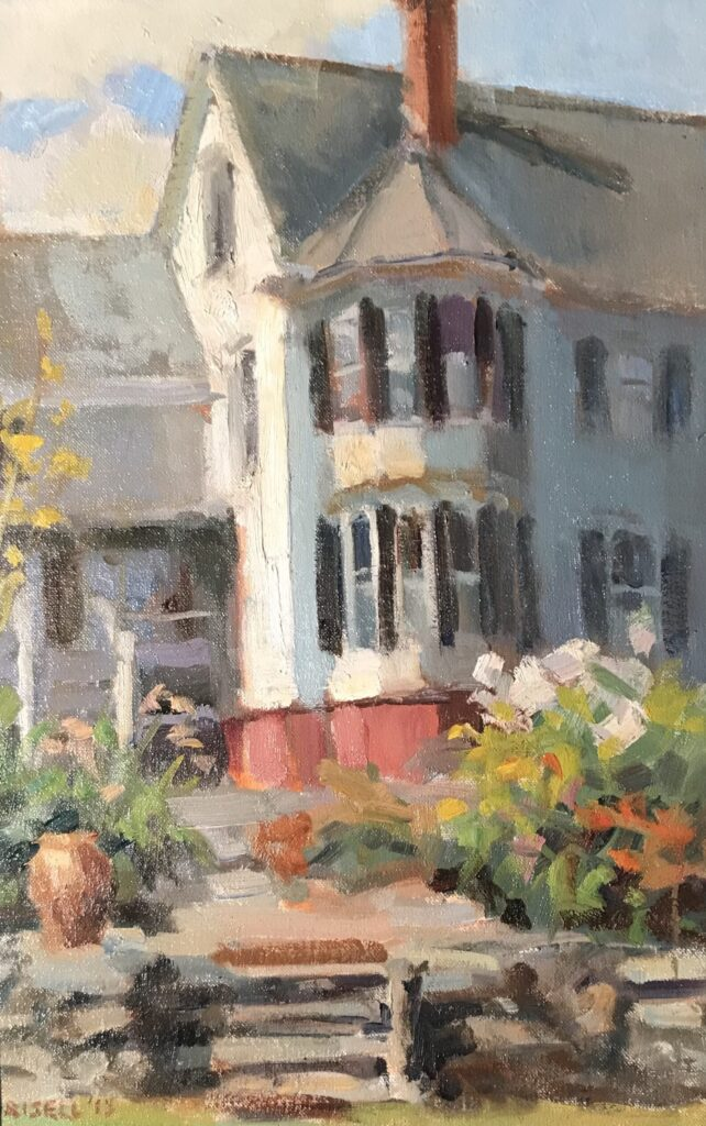 Amesbury Dooryard, Oil on Canvas on Panel, 18 x 12 Inches by Susan Grisell, $325
