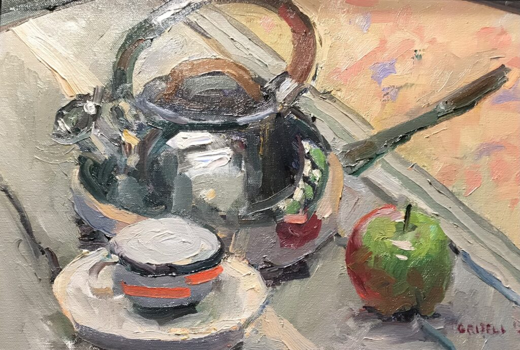 """""""Apple and Teakettle"""", Oil on Panel, 10 x 15 Inches, by Susan Grisell"""