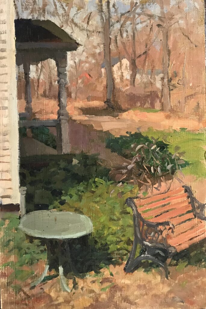 """""""Bench in Autumn"""", 18 x 12 Inches, by Susan Grisell $325"""