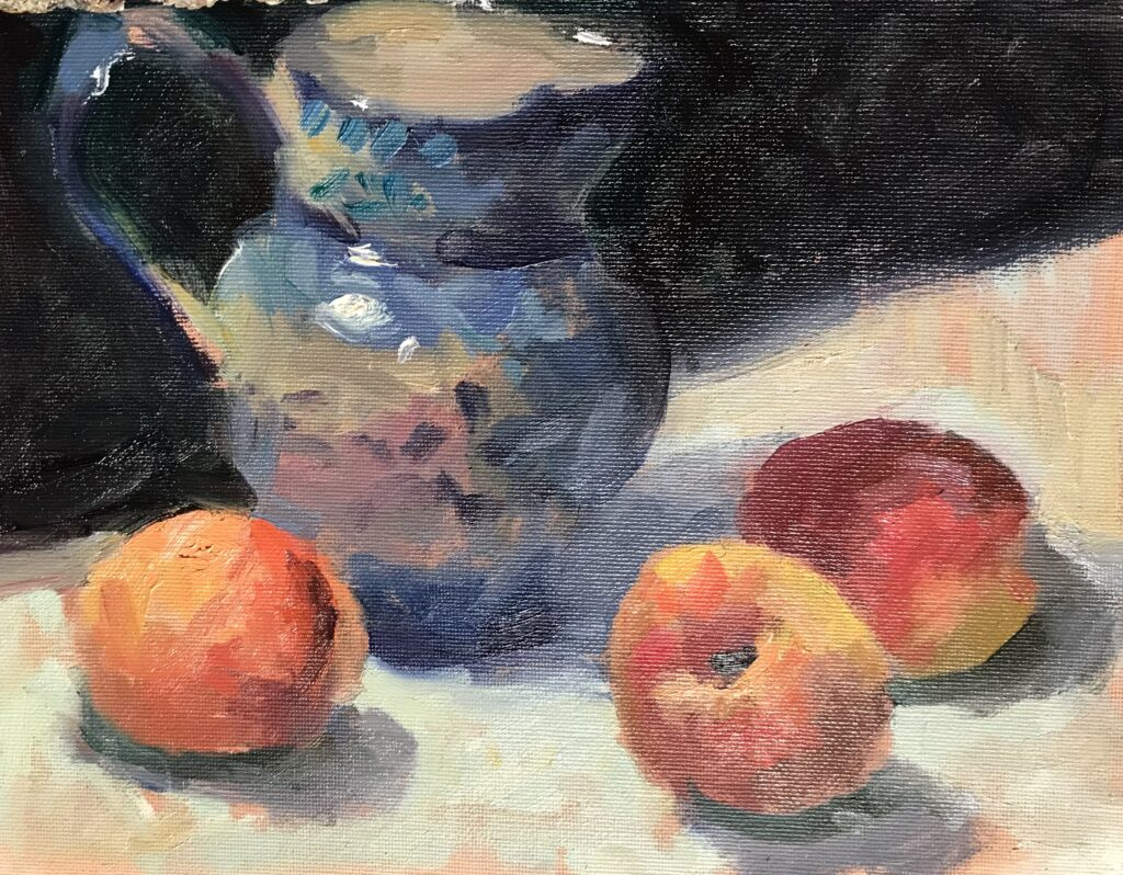 """""""Bill's Peaches"""", Oil on Canvas in Panel, 9 x 12 Inches by Susan Grisell $200"""