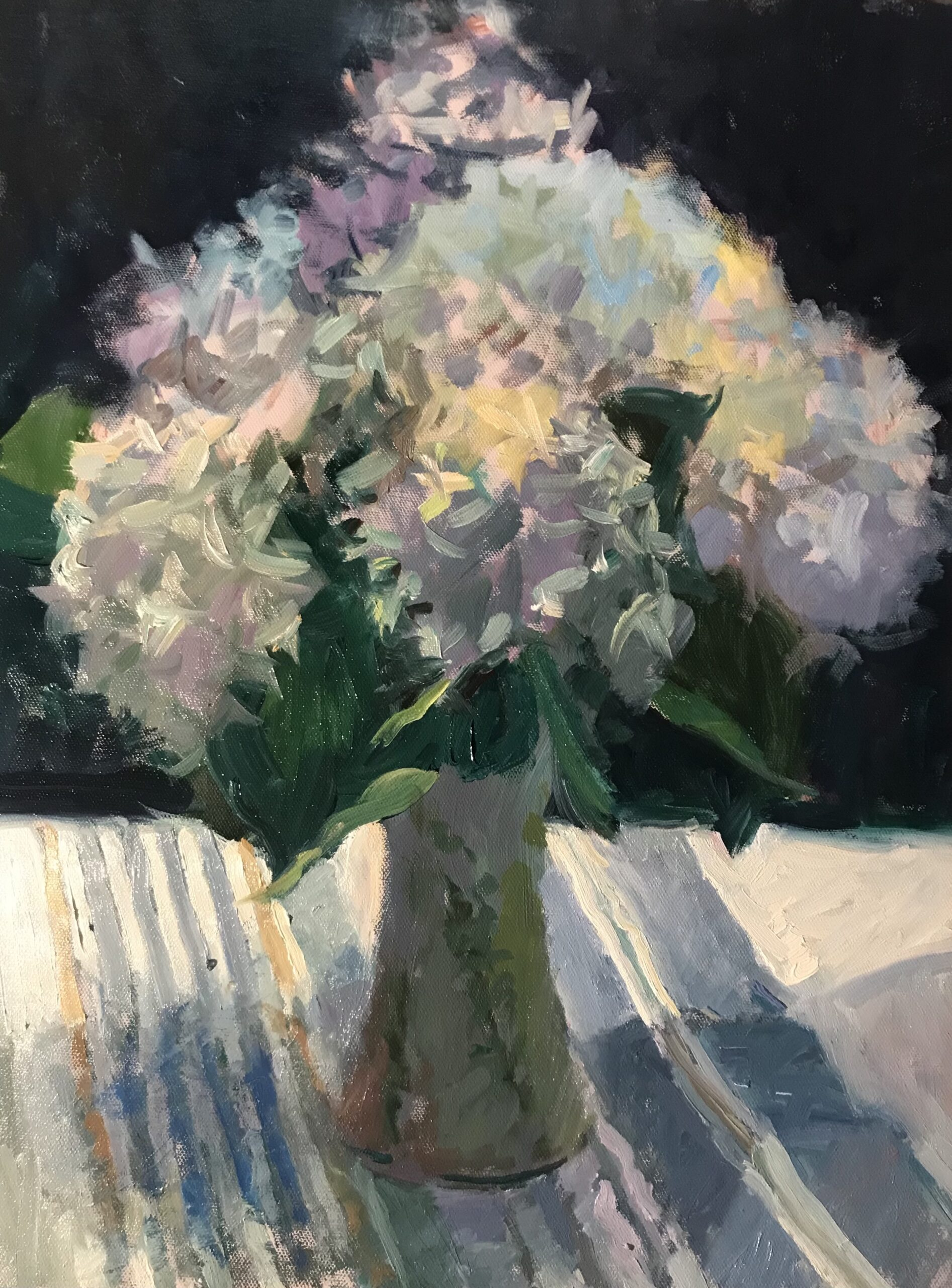 """""""Blue and White Hydrangeas"""", Oil on Canvas on Panel, 20 x 16 Inches, by Susan Grisell"""