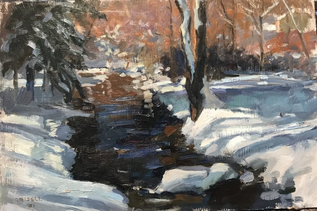 """""""Brook, Snow, and Sunlight"""" 12 x 18 Inches, by Susan Grisell $325"""