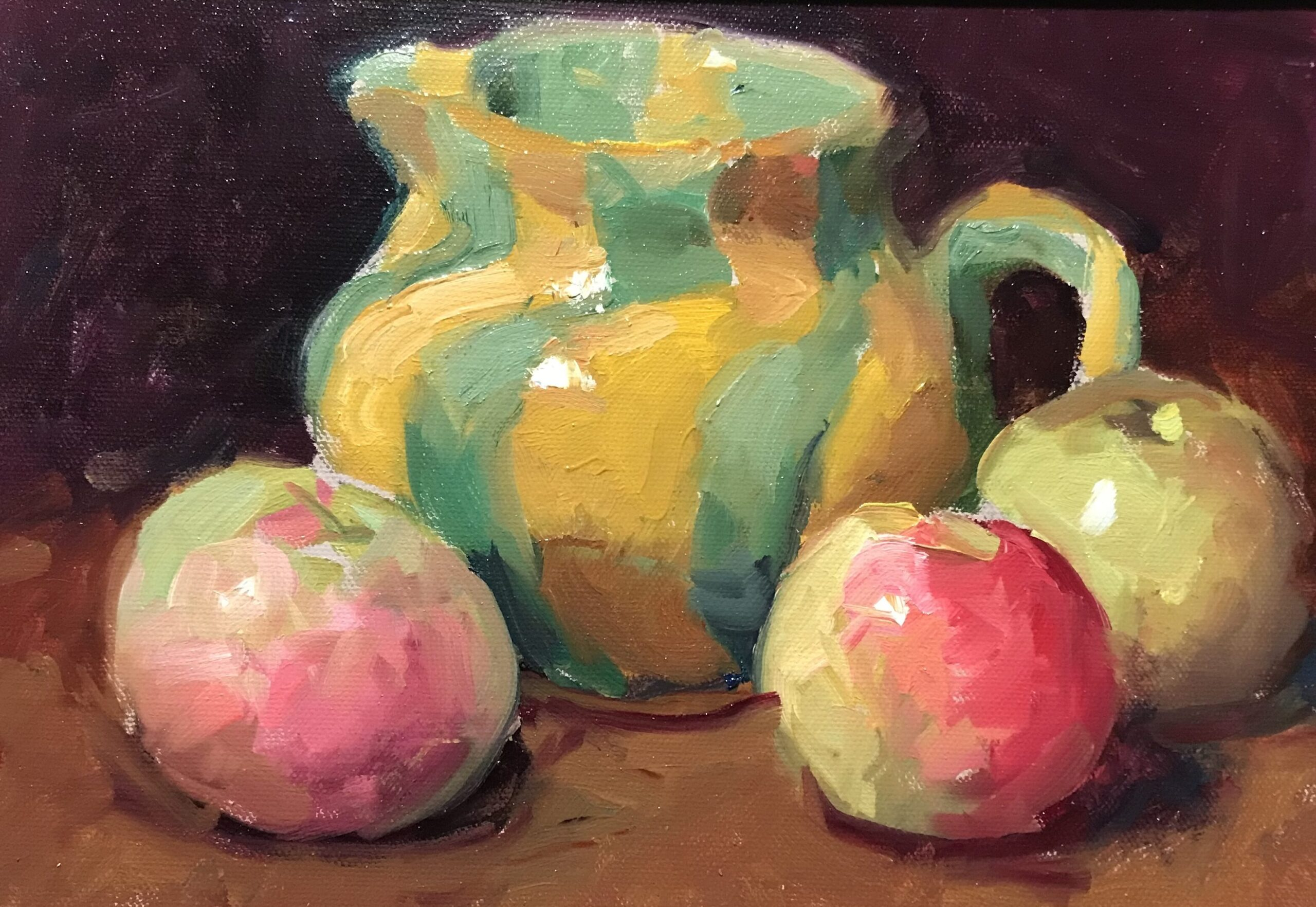 """""""Three Apples and a Pitcher"""", Oil on Canvas on Pitcher, 9 x 12 Inches, by Susan Grisell $200"""
