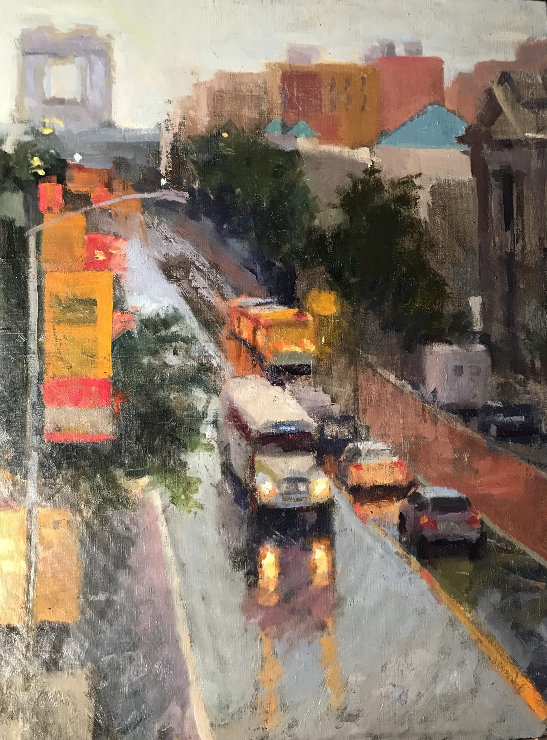 Crosstown Bus, Oil on Canvas, 36 x 24 Inches, by Susan Grisell $1500