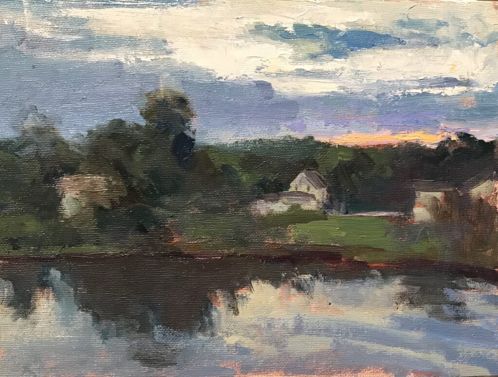 """""""Dawn by the River"""", Oil on Canvas on Panel, 9 x 12 Inches, by Susan Grisell $200"""
