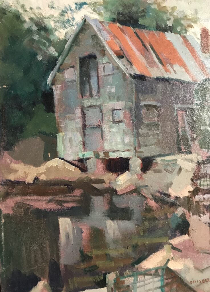 """""""Fishing Shack, Cape Ann"""", Oil on Canvas on Panel, 16 x 12 Inches, by Susan Grisell $300"""