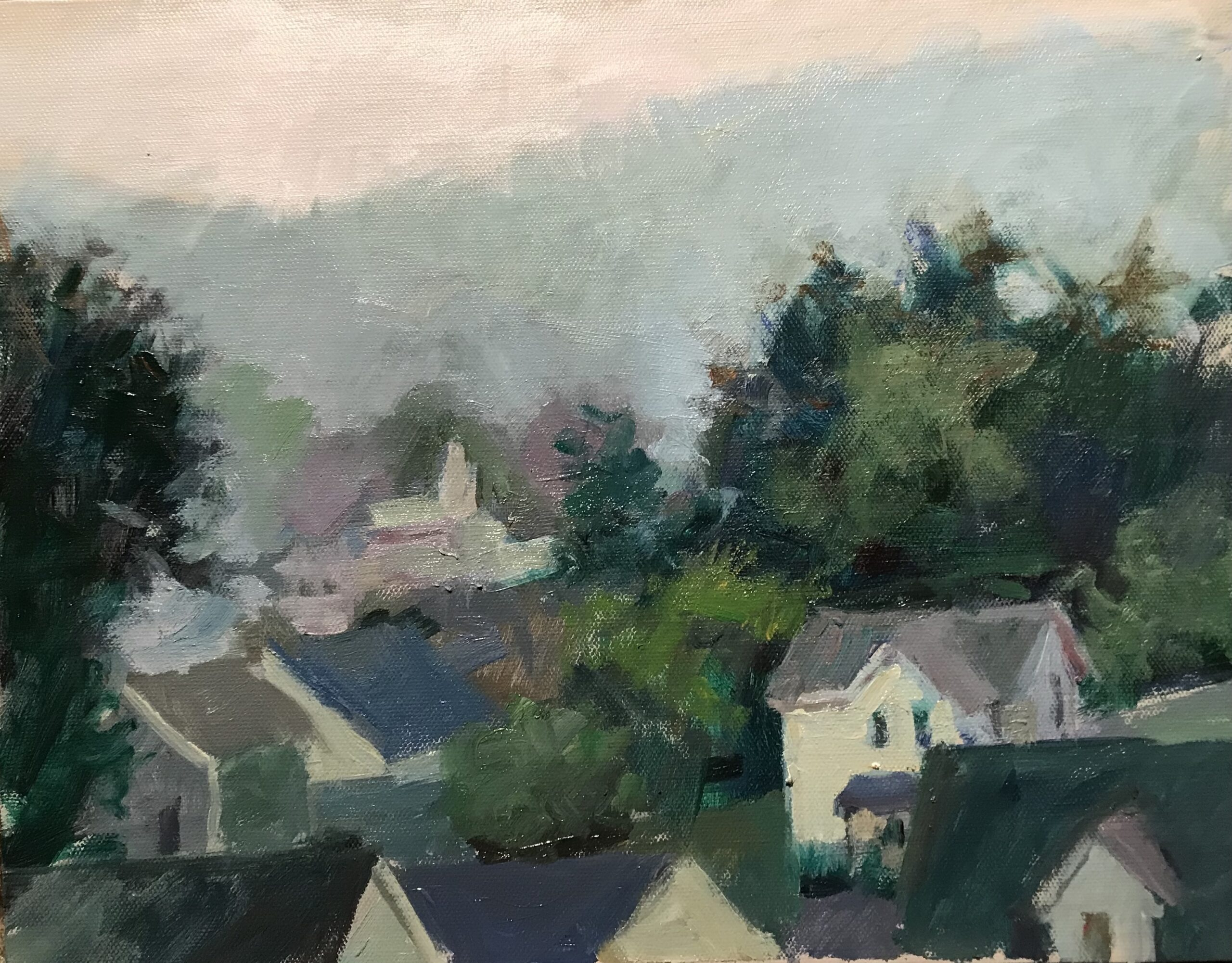 """""""Haze Over Danbury"""", Oil on Canvas on Panel, 11 x 14 Inches, by Susan Grisell $300"""