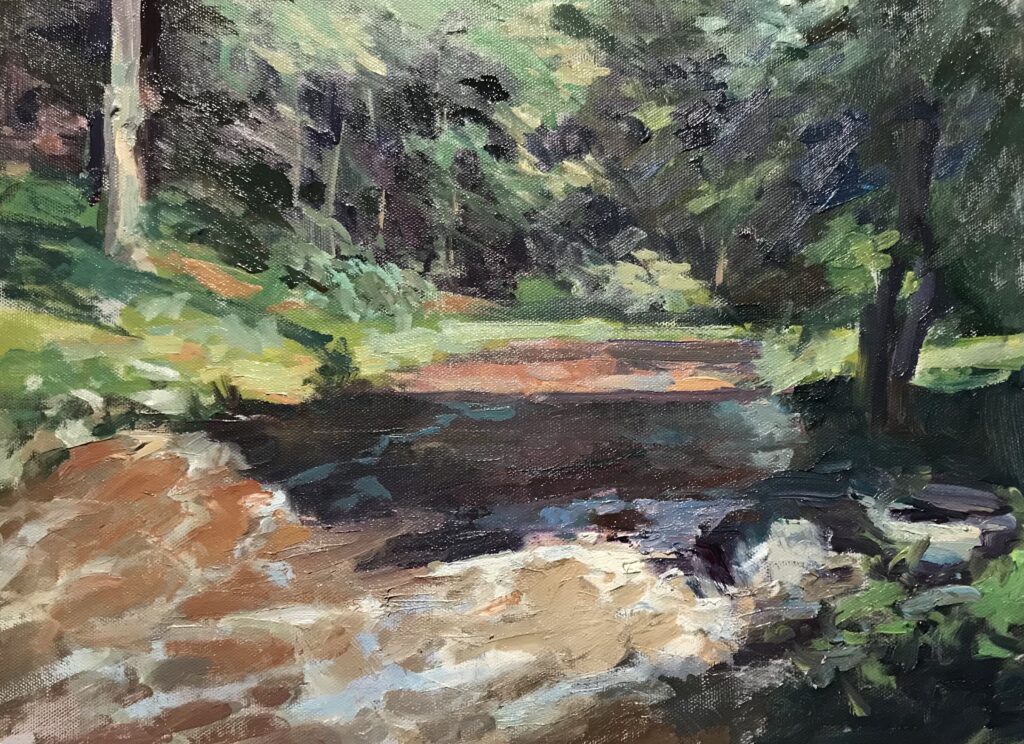 """""""High Water: the Womenshenuk in Spate, Oil on Canvas on Panel, 12 x 16 Inches, by Susan Grisell $325"""