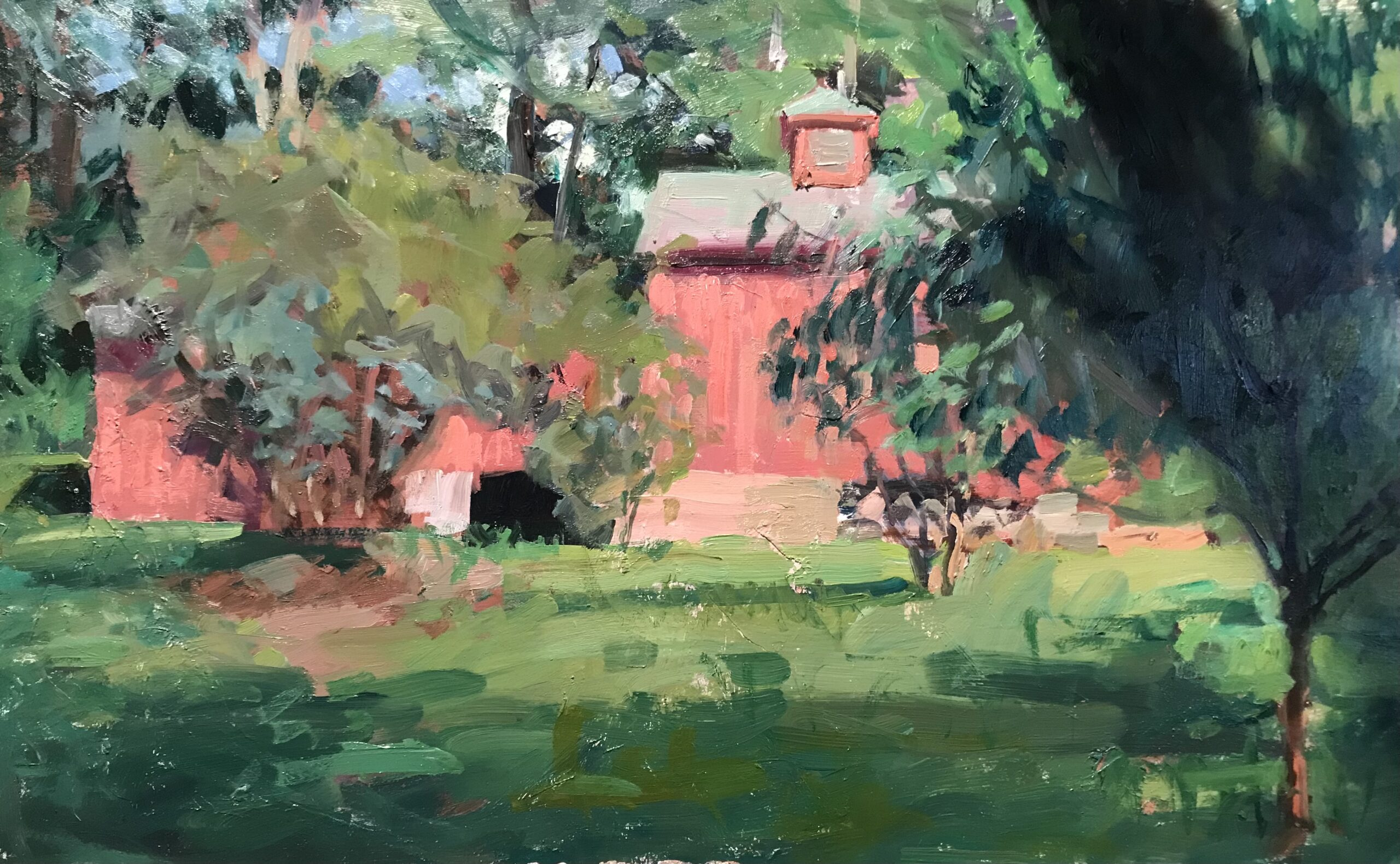 """""""Jake Grisell's Barn"""", Oil on Panel, 14 x 24 Inches, by Susan Grisell $800"""