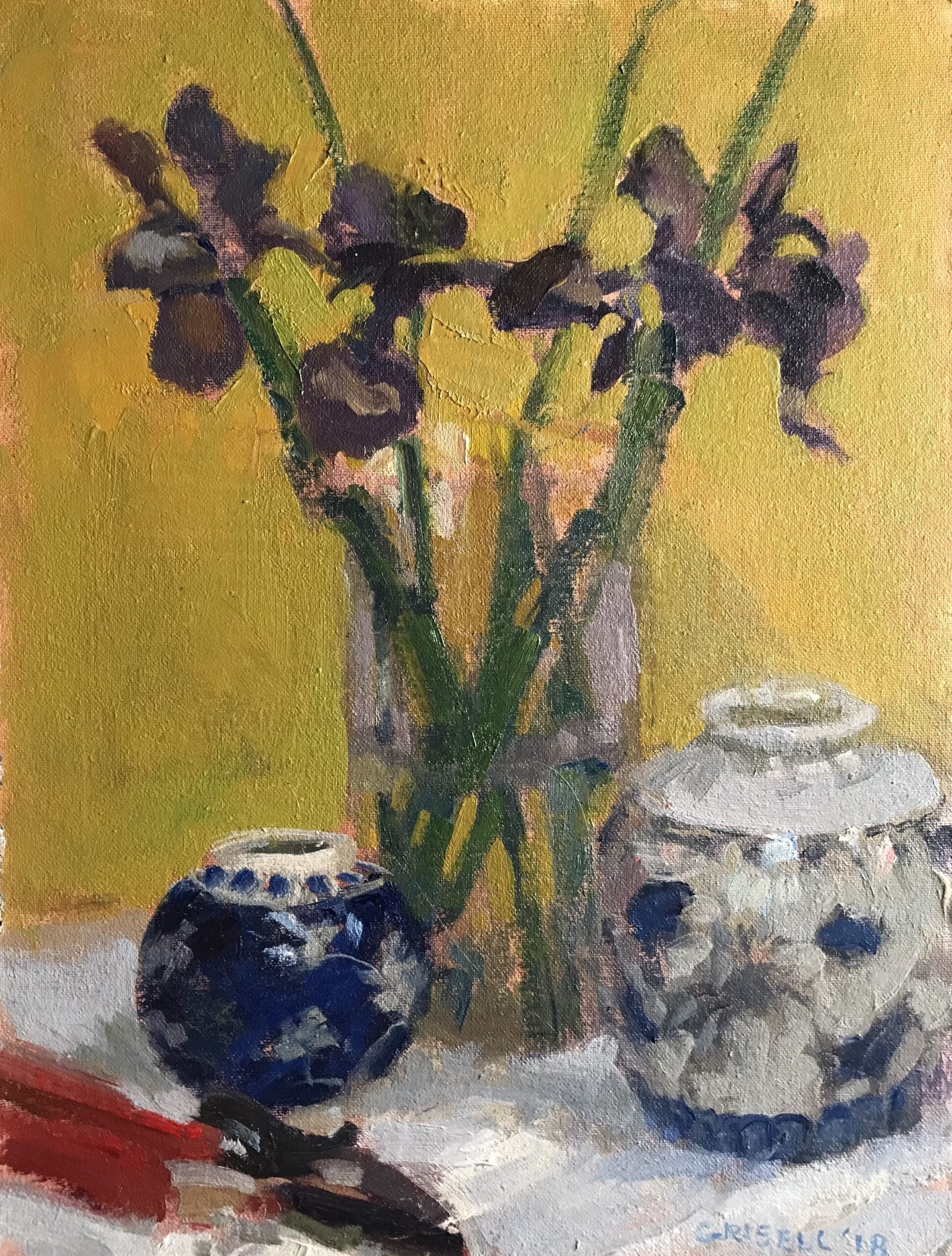 """""""Japanese Iris"""", Oil on Canvas on Panel, 16 x 12 Inches, by Susan Grisell $300"""