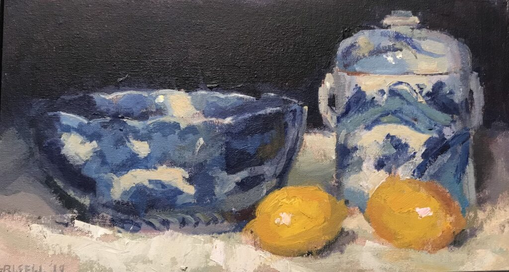 """""""Lemons and Chinoiserie"""", Oil on Canvas on Panel, 9 x 16 Inches by Susan Grisell $300"""
