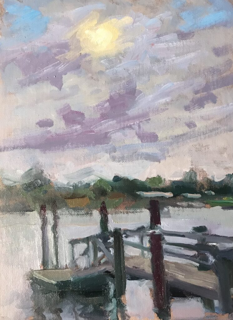 """""""Morning, Mystic River"""", Oil on Canvas on Panel, 9 x 12 Inches, by Susan Grisell"""