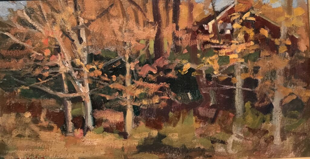 """""""My House in October"""", Oil on Canvas on Panel, 9 x 16 Inches, by Susan Grisell $275"""