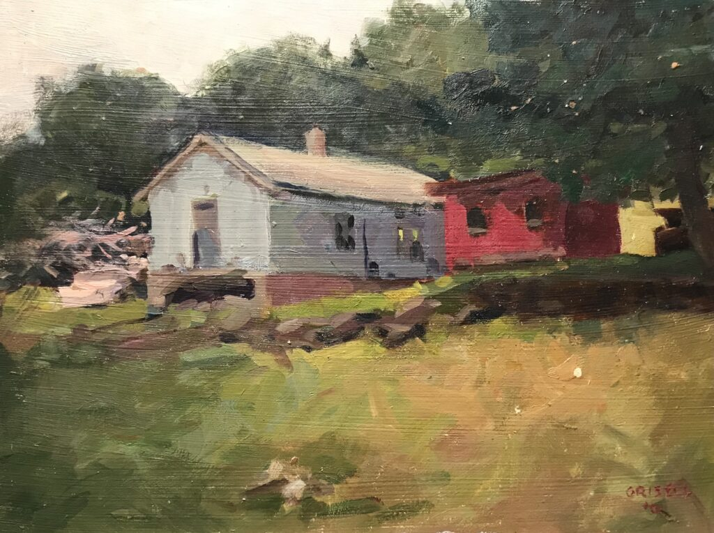 """""""Outbuildings, Hipp Farm"""", Oil on Panel, 12 x 16 Inches, by Susan Grisell $300"""