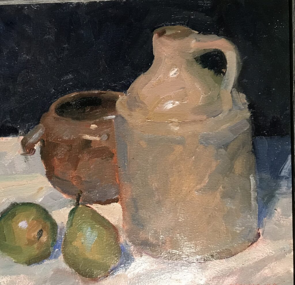 """""""Pears and Crocks"""", Oil on Canvas on Panel, 12 x 12 Inches, by Susan Grisell $275"""