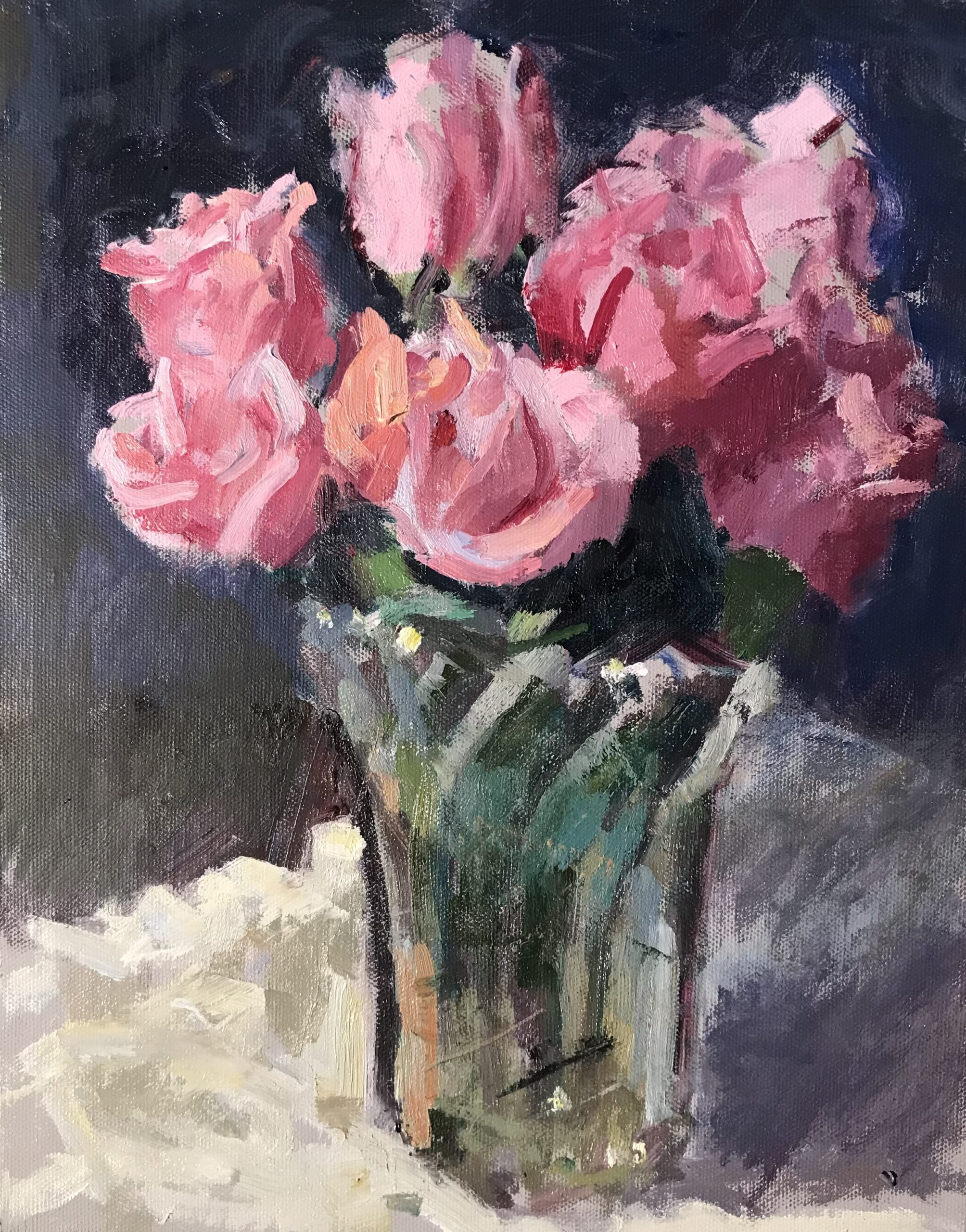"""""""Pink Roses"""", Oil on Canvas on Panel, 16 x 12 Inches by Susan Grisell $325"""