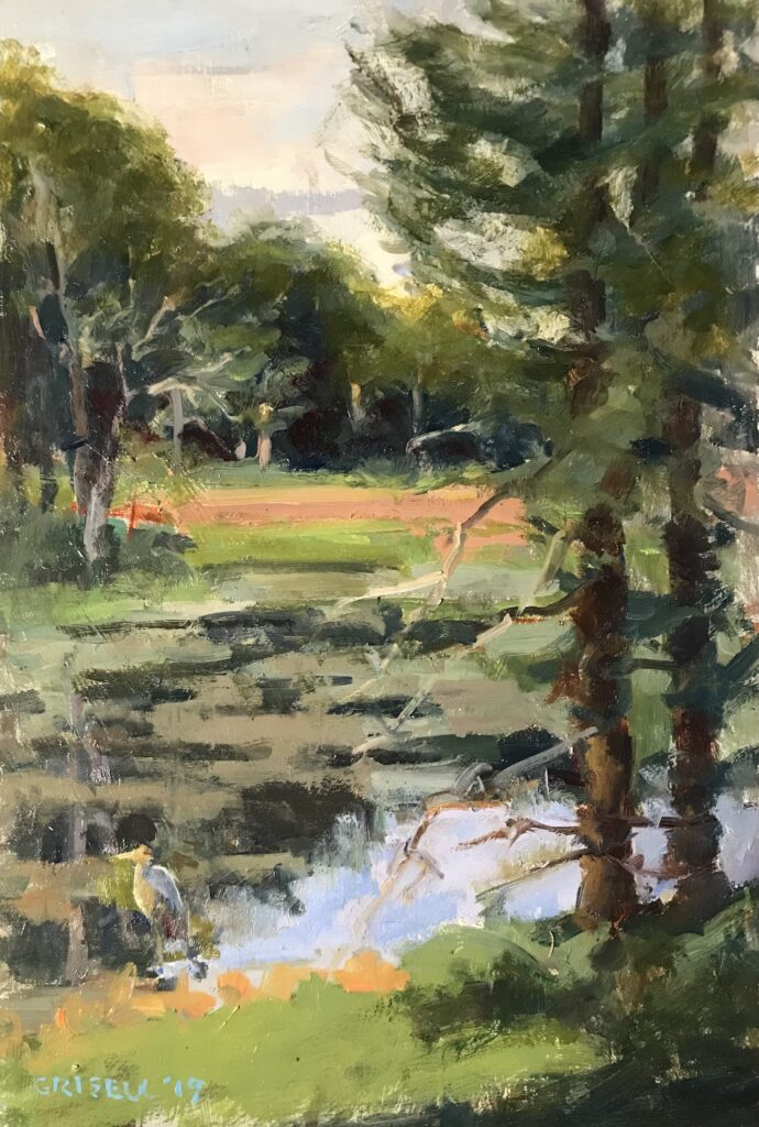 """""""Pond in Harwinton"""", Oil on Canvas on Panel, 18 x 12 Inches, by Susan Grisell $300"""