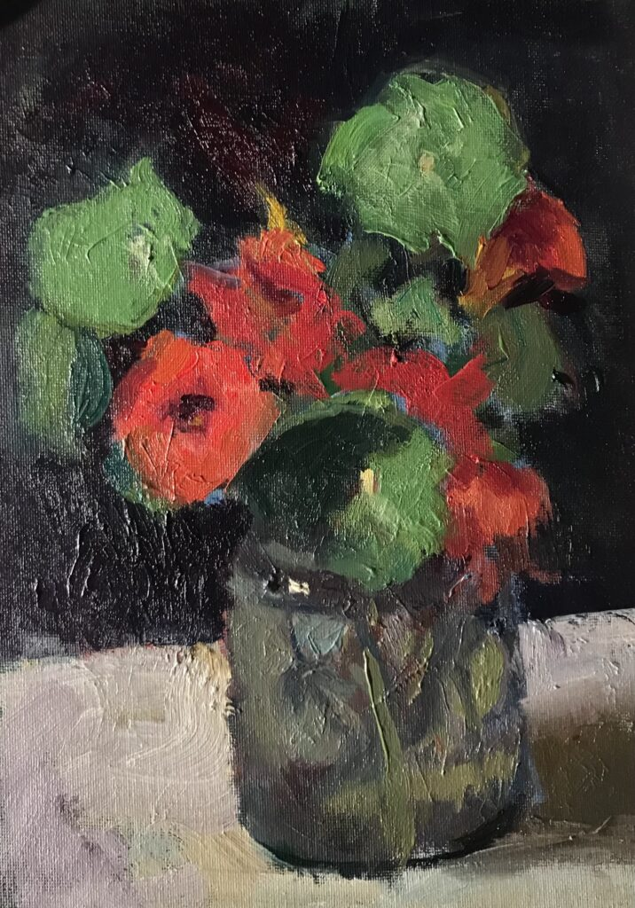 """""""Red Nasturtiums"""", Oil on Canvas on Panel, 12 x 9 Inches, by Susan Grisell $200"""