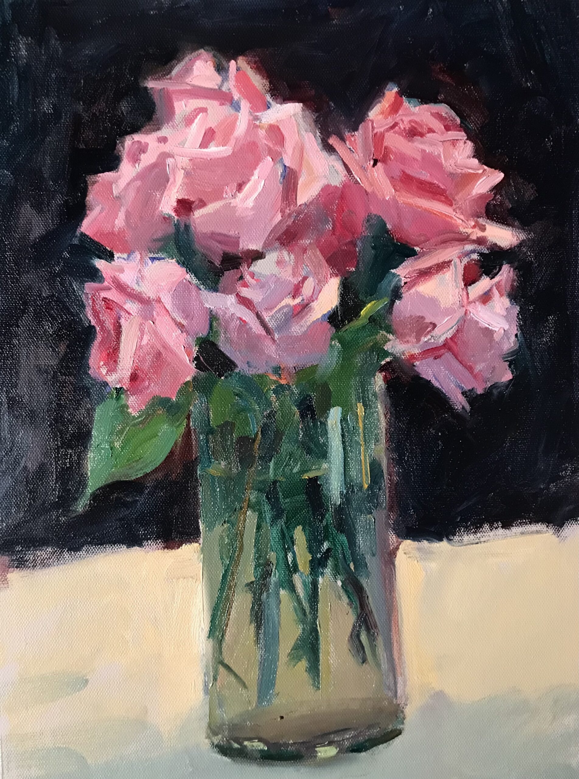 Roses in July, Oil on Canvas on Panel, 16 x 12 Inches by Susan Grisell $325