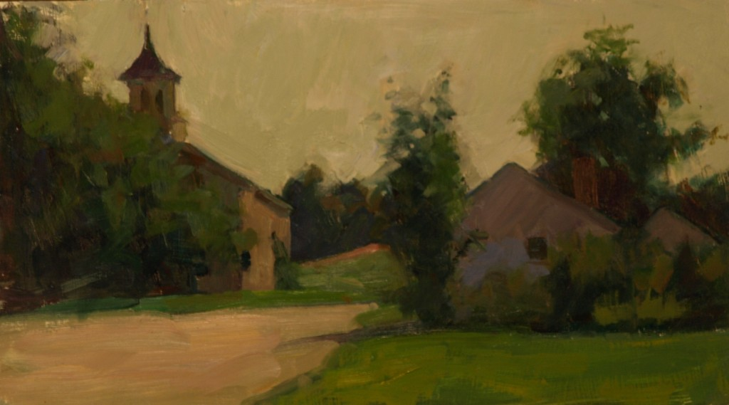 Woodsom Farm, Oil on Panel, 9 x 16 Inches, by Susan Grisell, $300