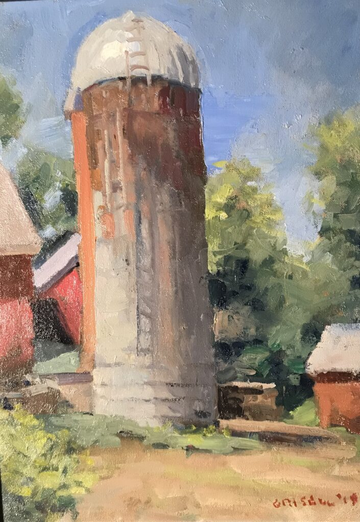 """""""Silo at Hunt's Hill"""", Oil on Canvas on Panel, 16 x 12 Inches, by Susan Grisell $300"""