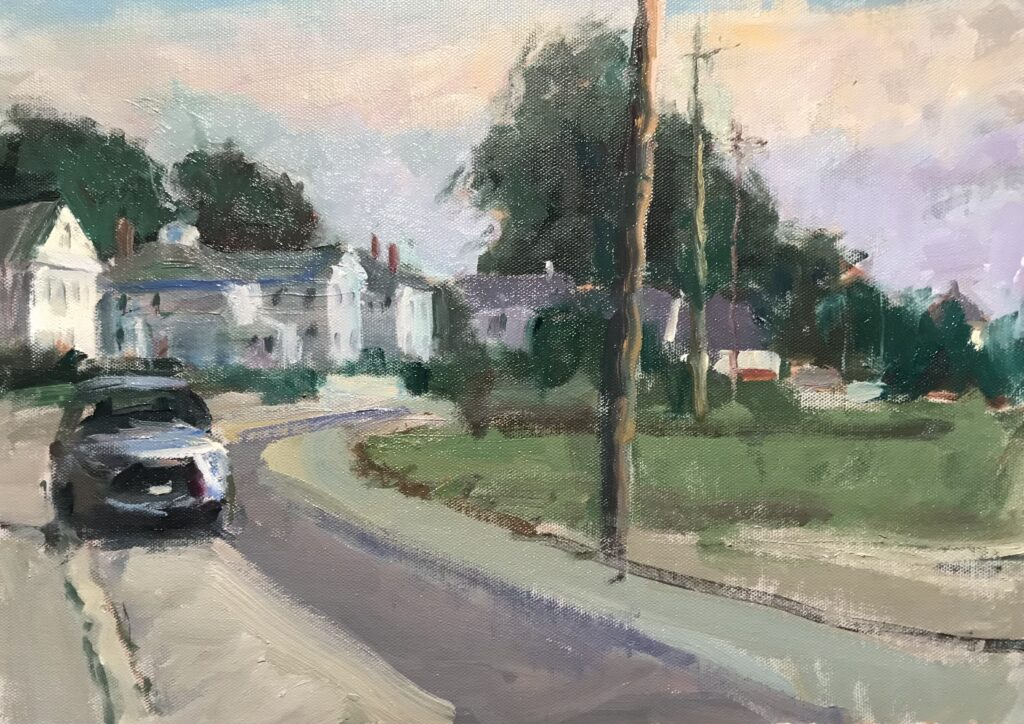 """""""Street in Mystic"""", Oil on Canvas on Panel, 12 x 16 Inches, by Susan Grisell"""