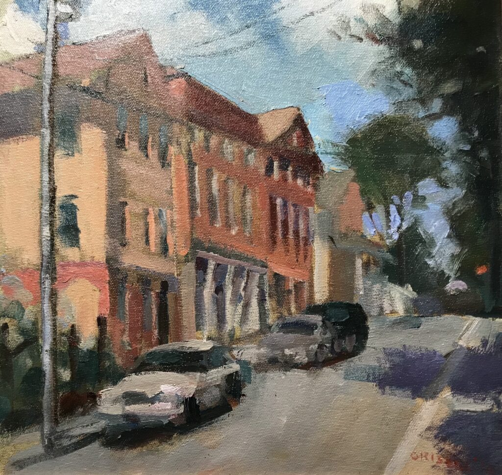 Street in Stonington, Oil on Canvas on Panel, 12 x 11 Inches by Susan Grisell $275