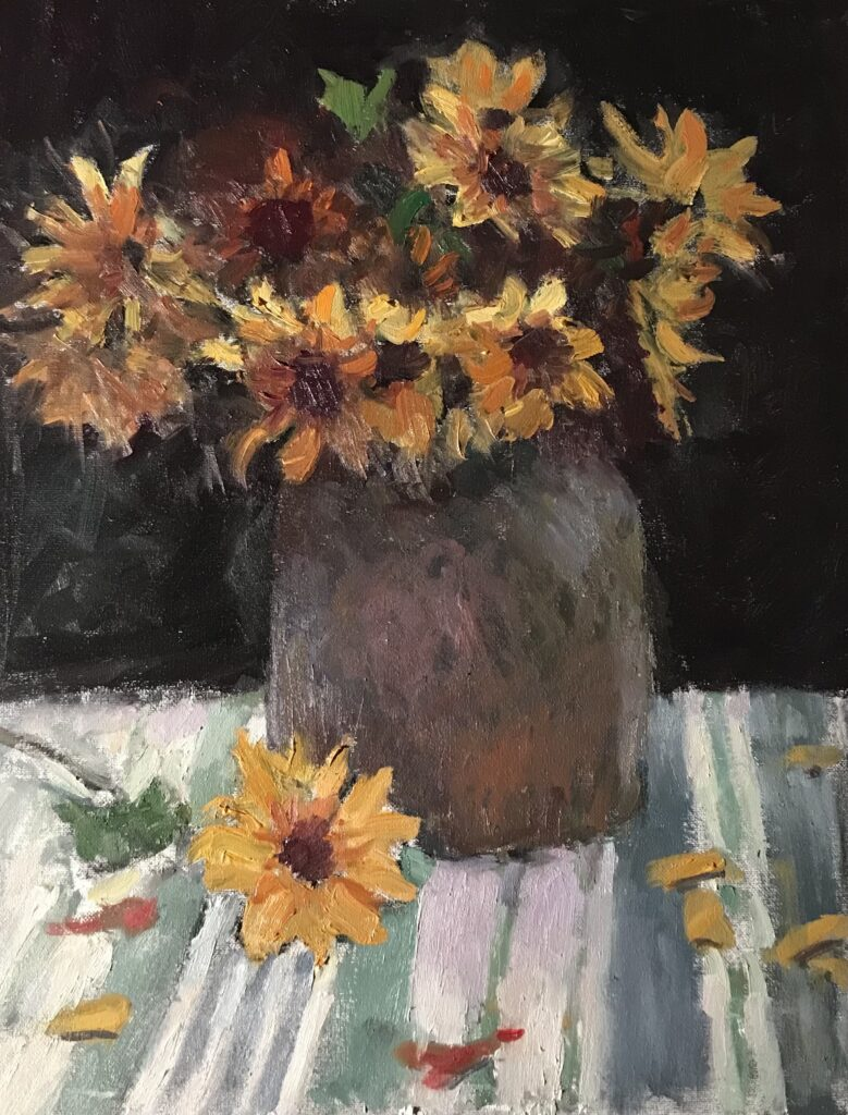 """""""Sunflowers and Crock"""", Oil on Canvas on Panel, 20 x 16 Inches, by Susan Grisell $550"""
