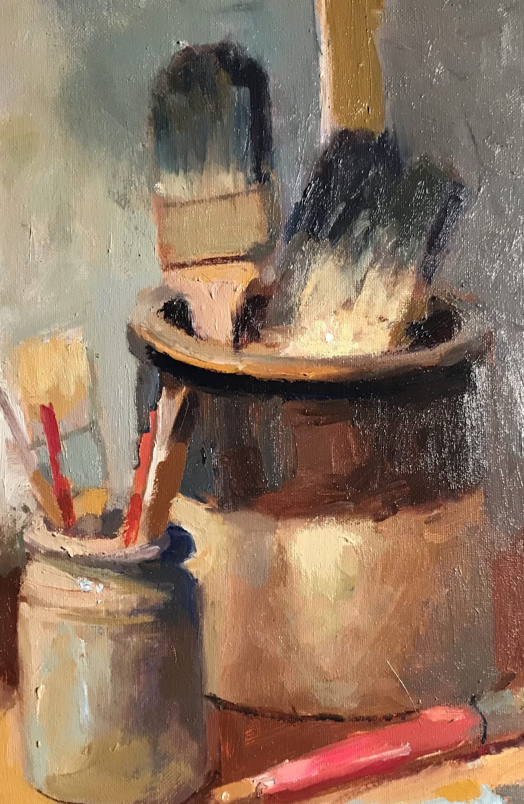 """""""Brushes"""", Oil on Canvas, 16 x 12 Inches, by Susan Grisell $325"""