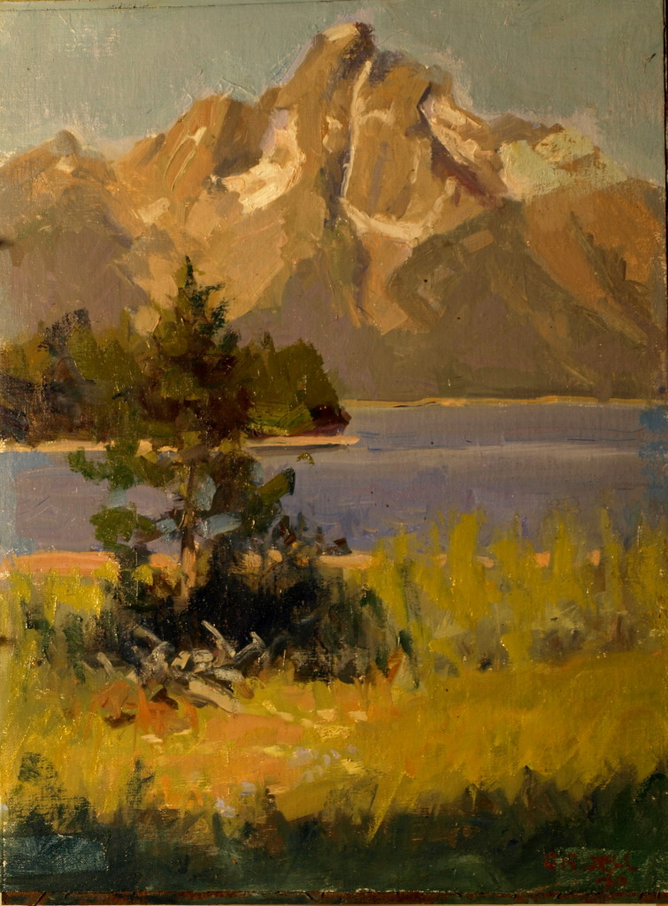 Mt Moran Jackson Hole, Oil on Canvas on Panel, 16 x 12 Inches, by Susan Grisell, $300