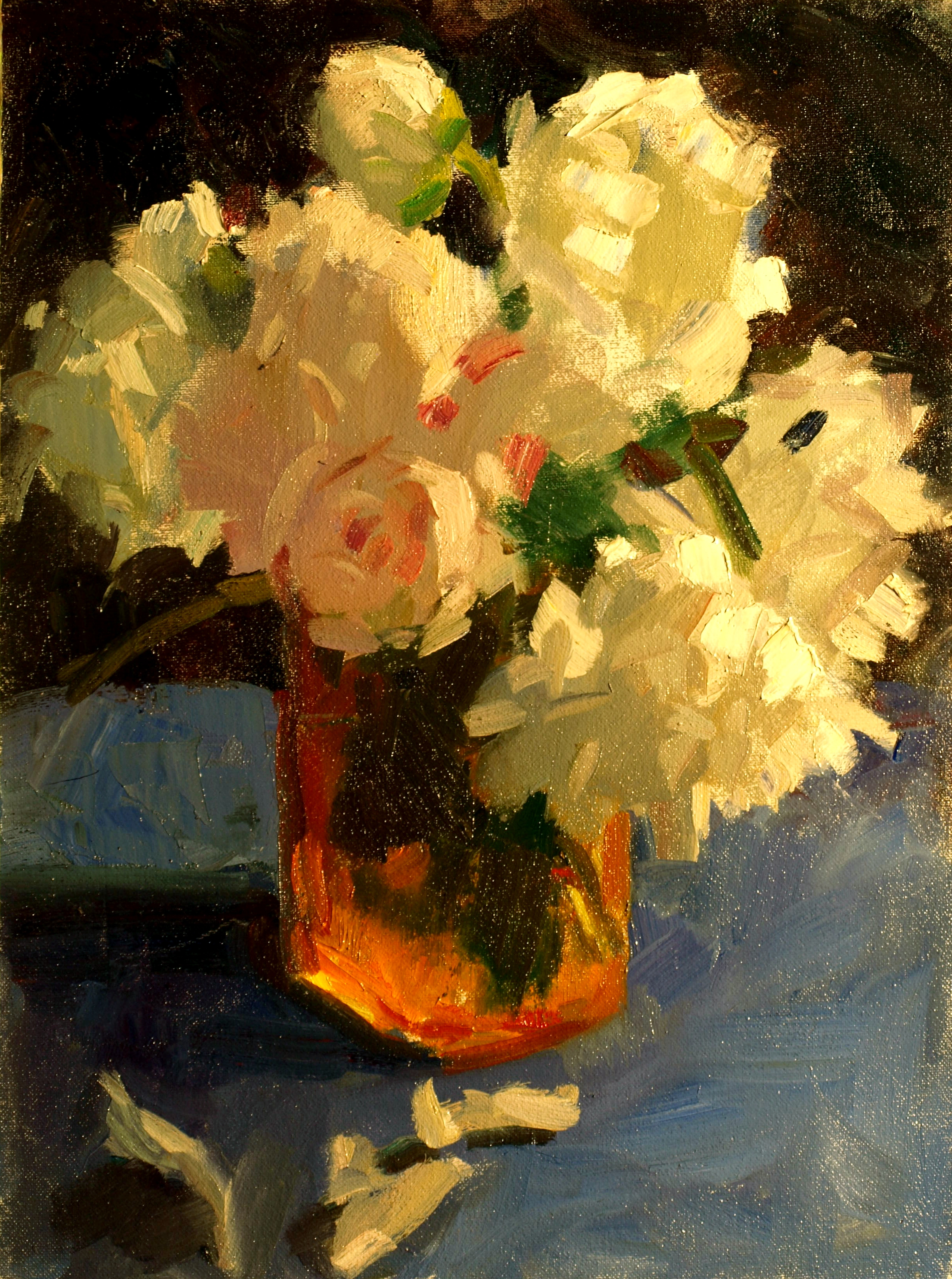 Peonies in Amber Vase, Oil on Canvas on Panel, 16 x 12 Inches, by Susan Grisell, $275