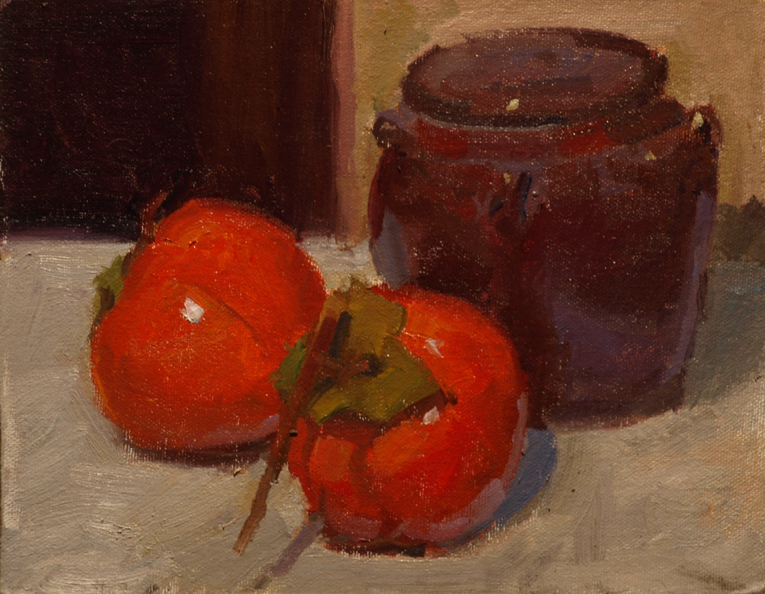 Persimmons, Oil on Canvas on Panel, 8 x 10 Inches, by Susan Grisell, $150