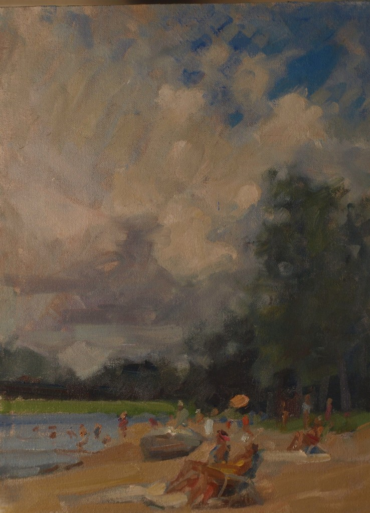 Beach Day, Oil on Canvas on Panel, 16 x 12 Inches, by Susan Grisell, $325