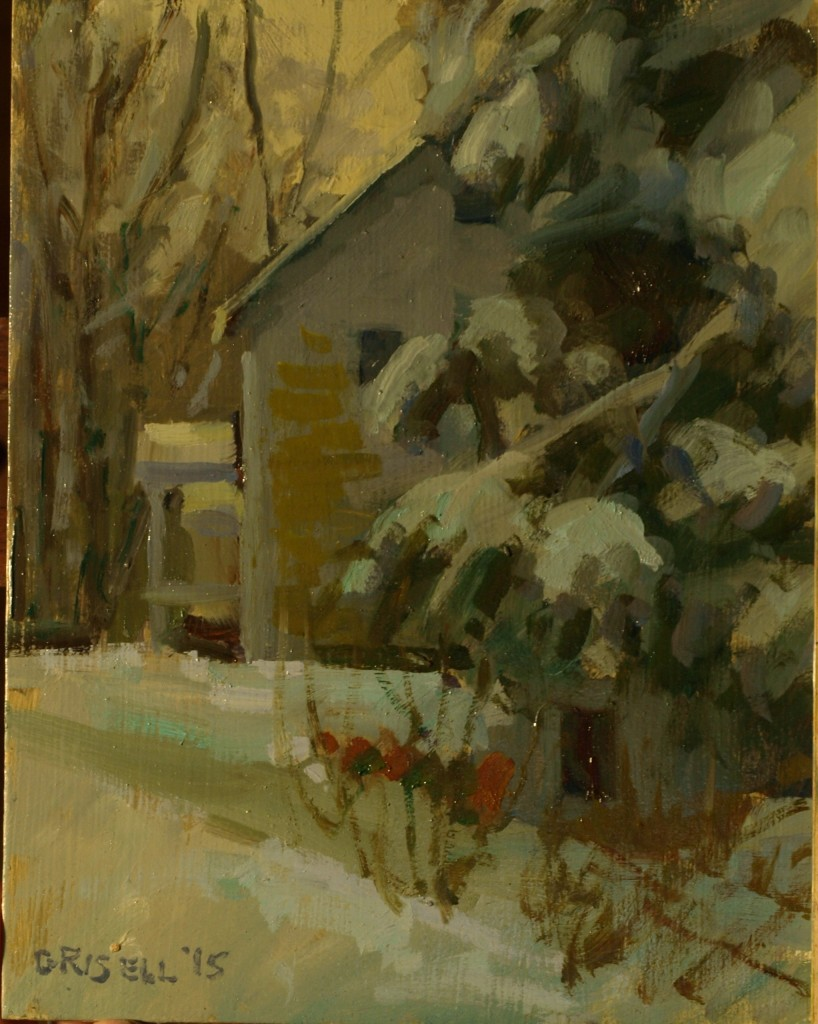 House Trees Snow, Oil on Panel, 10 x 8 Inches, by Susan Grisell, $200