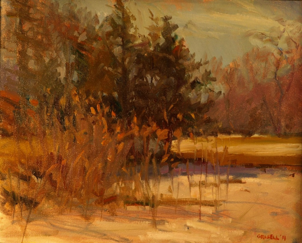 Late Winter Snow, Oil on Canvas, 16 x 20 Inches, by Susan Grisell, $450