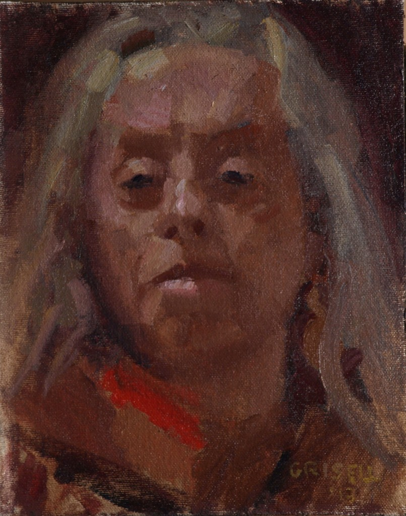 Self Portrait, Oil on Canvas on Panel, 10 x 8 Inches, by Susan Grisell, $150
